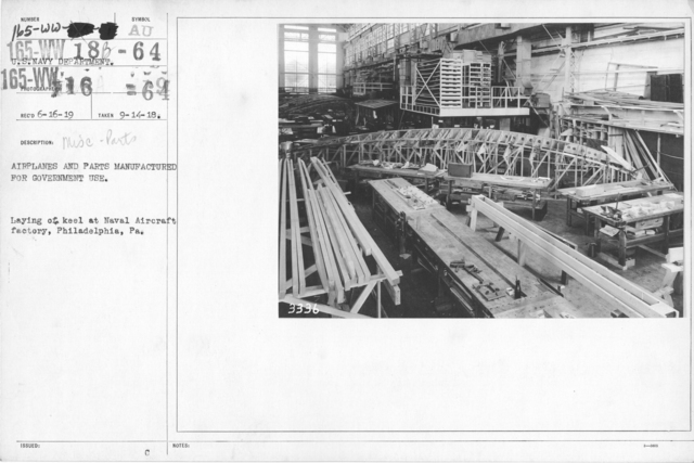 Airplanes - Miscellaneous - Airplanes and parts manufactured for government use. Laying of keel at Naval Aircraft Factory, Philadelphia, PA
