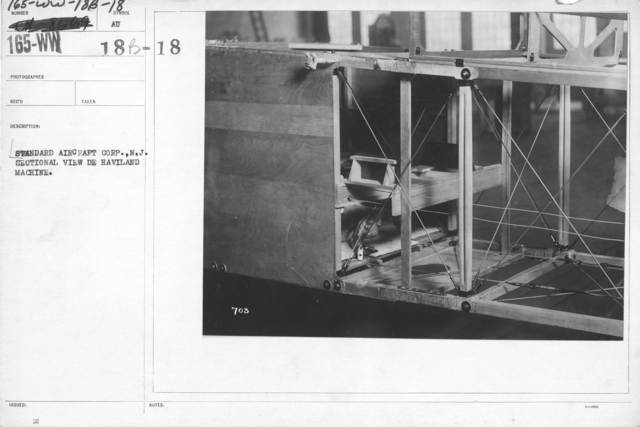 Airplanes - Miscellaneous - Standard Aircraft Corp., N.J., Sectional view De Haviland machine