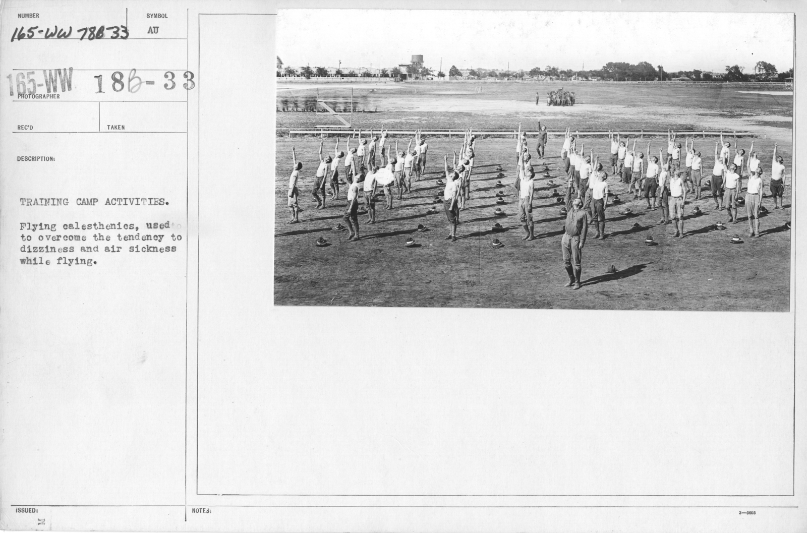 Airplanes - Miscellaneous - Training camp activities. Flying calisthenics, used to overcome the tendency to dizziness and air sickness while flying