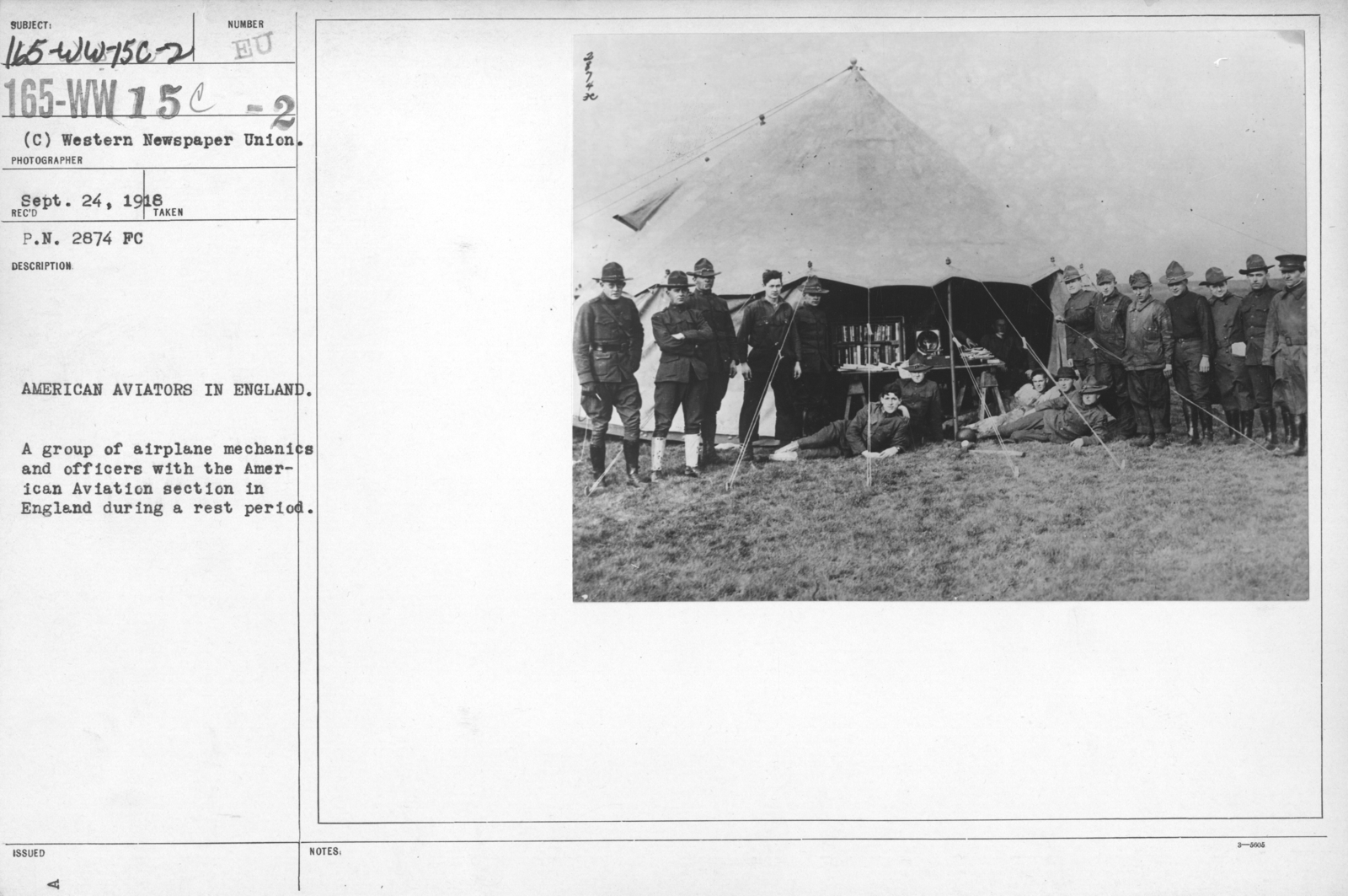 Airplanes - Operations - American Aviators in England. A group of airplane mechanics and officers with the American Aviation section in England during a rest period