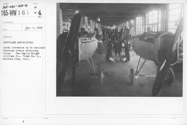 Airplanes - Parts - Aeroplane manufacture. Final operation on De Haviland Fuselage before attaching wings. The Dayton Wright Airplane Co., Plant No. 1., Moraine City, Ohio