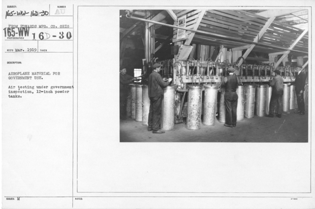 Airplanes - Parts - Aeroplane material for government use. Air testing under government inspection, 12-inch powder tanks. From Edwards MFG. CO. Ohio
