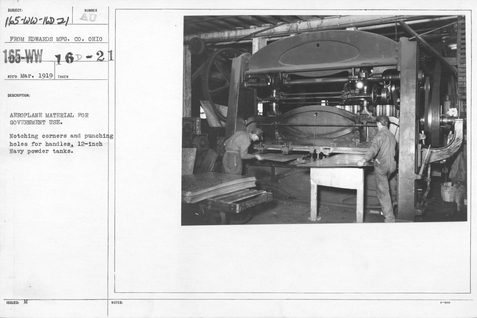 Airplanes - Parts - Aeroplane material for government use. Notching corners and punching holes for handles, 12-inch Navy powder tanks. From Edwards MFG. CO. Ohio