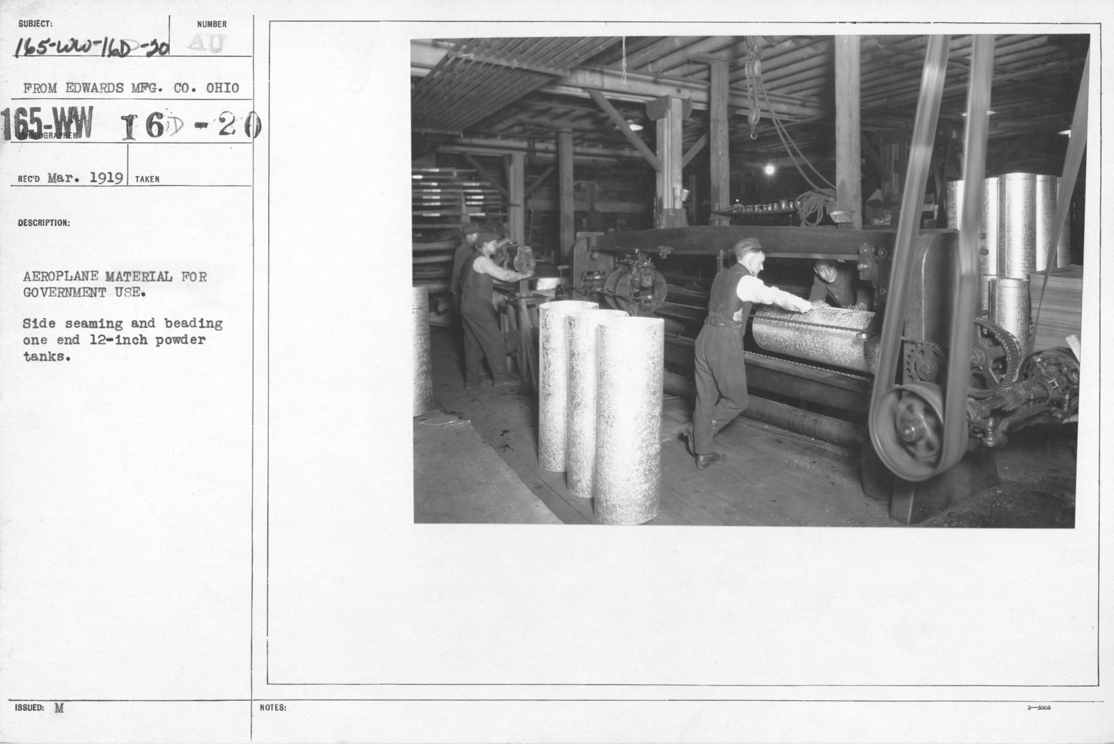 Airplanes - Parts - Aeroplane material for government use. Side seaming and beading one end 12-inch powder tanks. From Edwards MFG. CO., Ohio