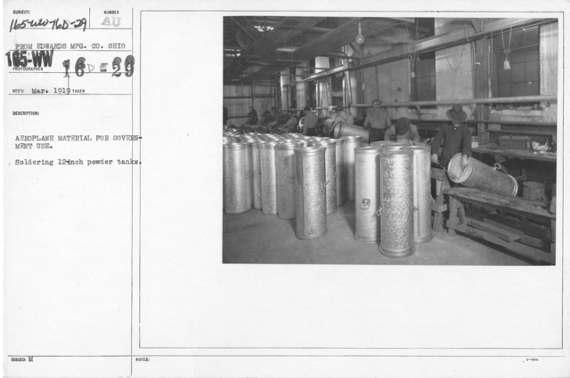 Airplanes - Parts - Aeroplane material for government use. Soldering 12-inch powder tanks. From Edwards MFG. CO. Ohio