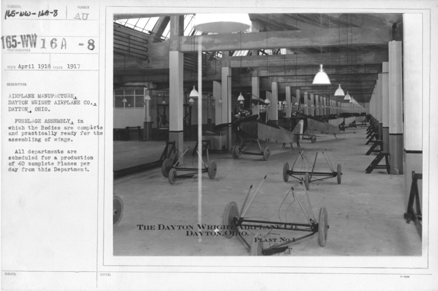 Airplanes - Parts - Airplane manufacture, Dayton Wright Airplane Co., Dayton, Ohio. Fuselage Assembly, in which the Bodies are complete and practically ready for the assembling of wings. All departments are scheduled for a production of40 complete planes per day from this Department