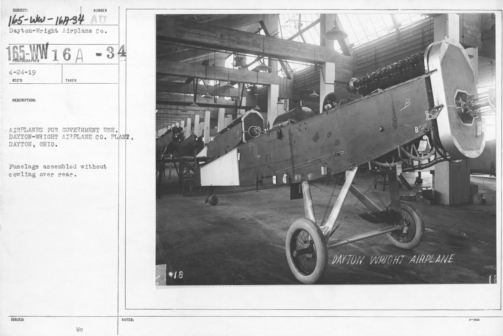 Airplanes - Parts - Airplanes for government use. Dayton-Wright Airplane Co. Plant, Dayton, Ohio. Fuselage assembled without cowling over rear