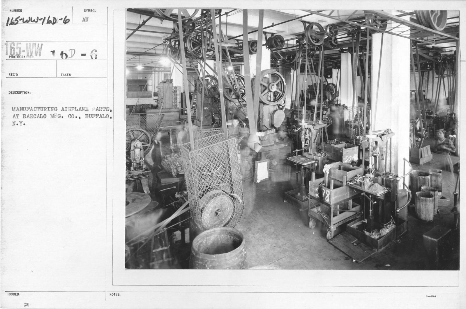 Airplanes - Parts - Manufacturing airplane parts, at Barcalo MFG. Co., Buffalo, N.Y
