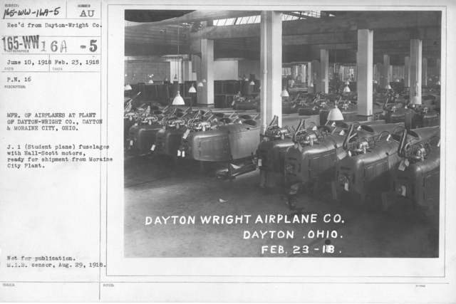 Airplanes - Parts - MFR. Of Airplanes at Plant of Dayton-Wright Co., Dayton & Moraine City, Ohio. J. 1 (student plane) fuselages with Hall-Scott motors, ready for shipment from Moraine City Plant