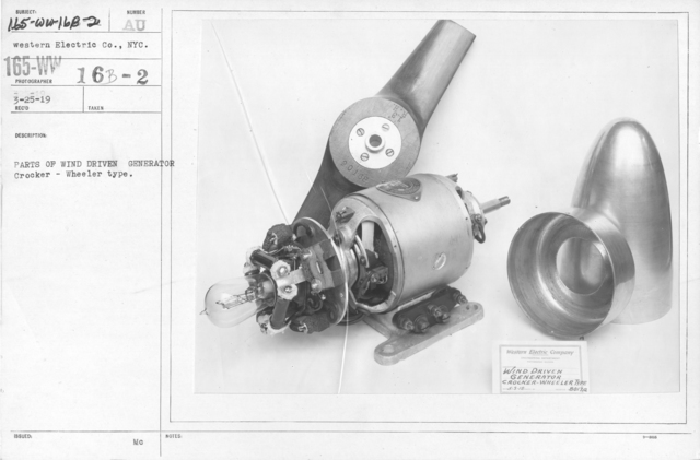 Airplanes - Parts - Parts of wind driven generator. Crocker - Wheeler type. Western Electric Co., NYC