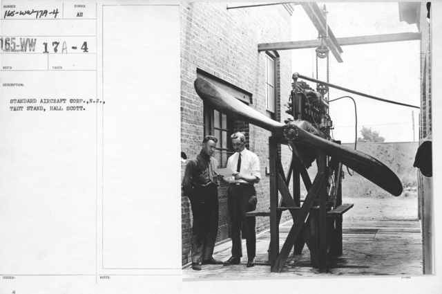 Airplanes - Propellers - Standard Aircraft Corp., N.J., Test Stand, Hall Scott