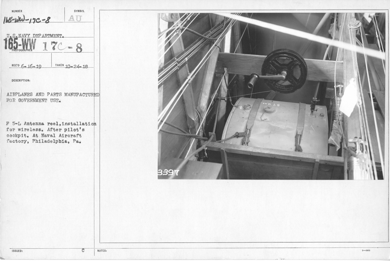 Airplanes - Radio Equipment - Airplanes and parts manufactured for government use. F 5-L Antenna reel, installation for wireless. After pilot's cockpit. At Naval Aircraft Factory, Philadelphia, PA. U.S. Navy Department