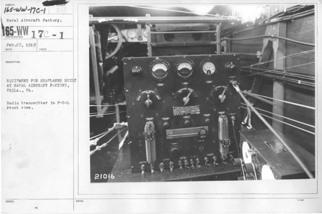 Airplanes - Radio Equipment - Equipment for seaplanes built at Naval Aircraft Factory, Phila., PA. Radio transmitter in F-5-L Front view