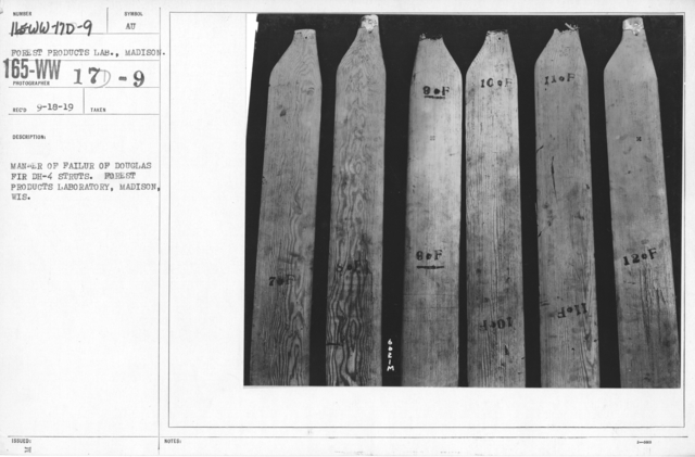 Airplanes - Struts - Manner of failure of Douglas Fir DH-4 struts. Forest Product Laboratory, Madison, Wis