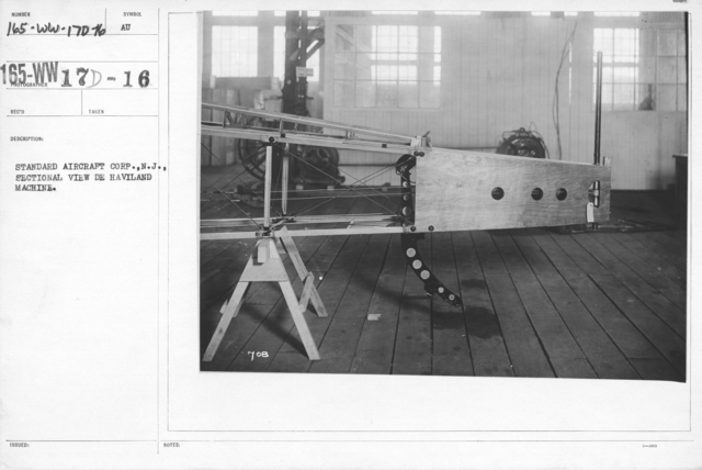 Airplanes - Struts - Standard Aircraft Corp., N.J., Sectional view De Haviland machine