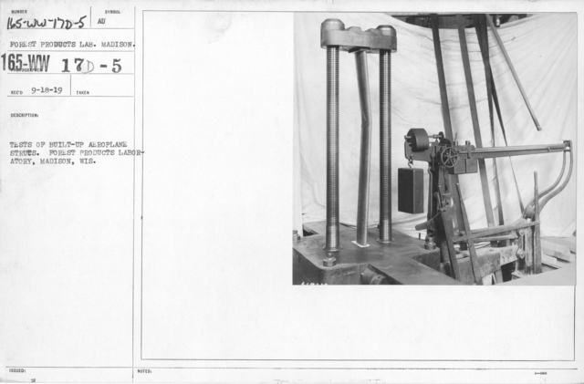 Airplanes - Struts - Tests of built-up aeroplane struts. Forest Products Laboratory, Madison, Wis