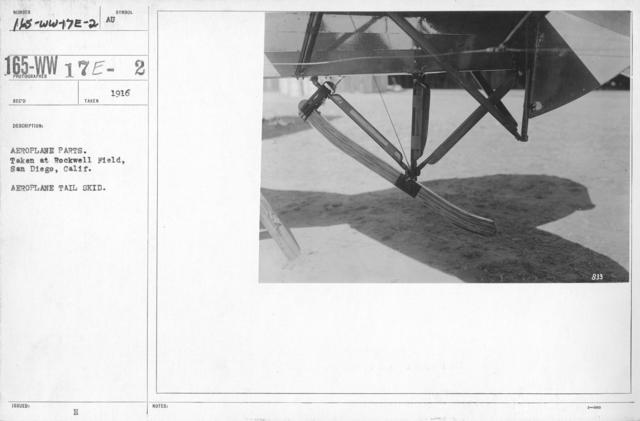 Airplanes - Tail Skids - Aeroplane parts. Taken at Rockwell Field, San Diego, Calif. Aeroplane tail skid