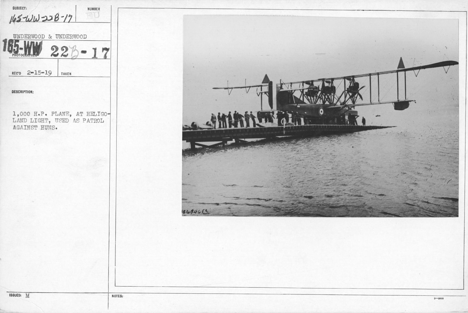 Airplanes - Types - 1,000 H.P. plane, at Helgoland light, used as patrol against Huns