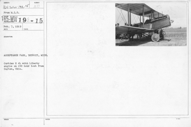 Airplanes - Types - Acceptance Park, Detroit, Mich. Curtiss R 4 L with Liberty engine on 150 hour test from Dayton, Ohio. From M.I.D