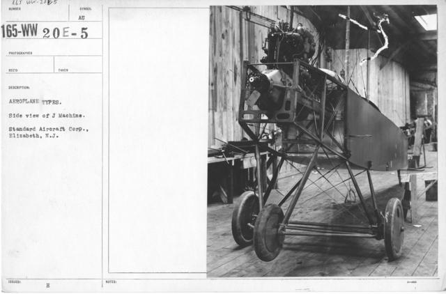 Airplanes - Types - Aeroplane types. Side view of J Machine. Standard Aircraft Corp., Elizabeth, N.J