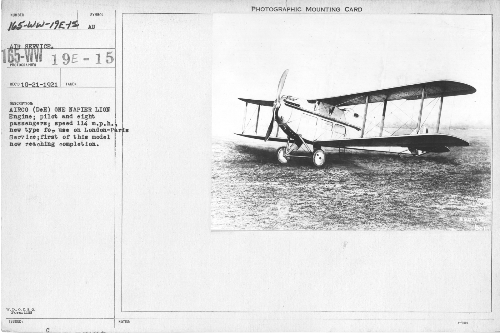 Airplanes - Types - Airco (DeH) one Napier Lion Engine; pilot and eight passengers; speed 114 m.p.h., new type for use on London-Paris Service, first of this model now reaching completion. Air Service