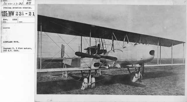Airplanes - Types - Airplane Type. Caproni 5, 3 Fiat motors, 300 H.P. each. Italian Aviation Mission