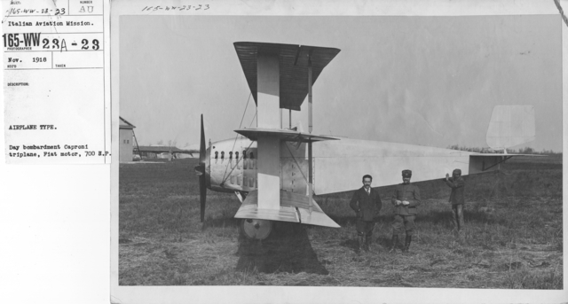 Airplanes - Types - Airplane Type. Day bombardment Caproni Triplane, Fiat motor, 700 H.P. Italian Aviation Mission