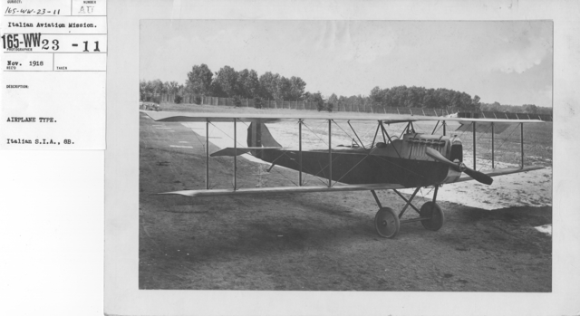 Airplanes - Types - Airplane Type. Italian S.I.A., 8B. Italian Aviation Mission