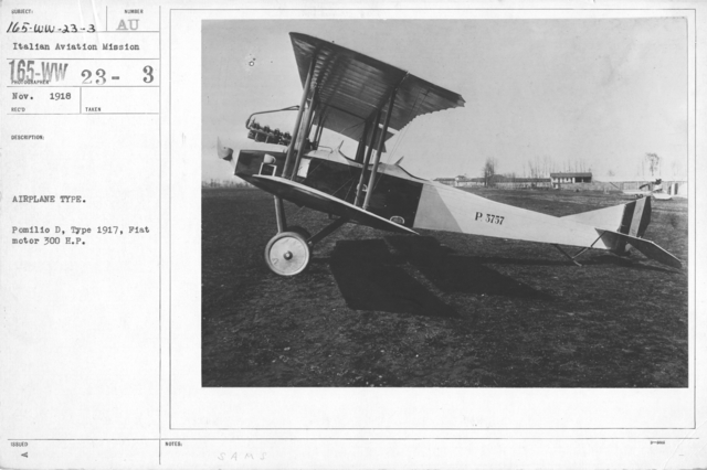 Airplanes - Types - Airplane Type. Pomilio D, Type 1917, Fiat motor 300 H.P. Italian Aviation Mission