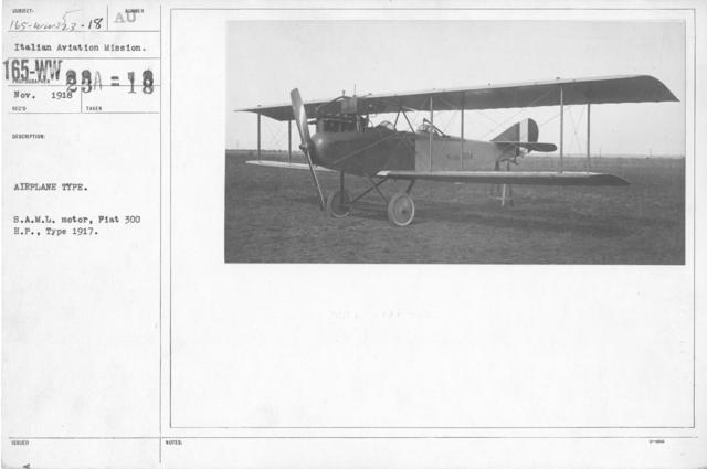 Airplanes - Types - Airplane Type. S.A.M.L. motor, Fiat 300 H.P., Type 1917. Italian Aviation Mission