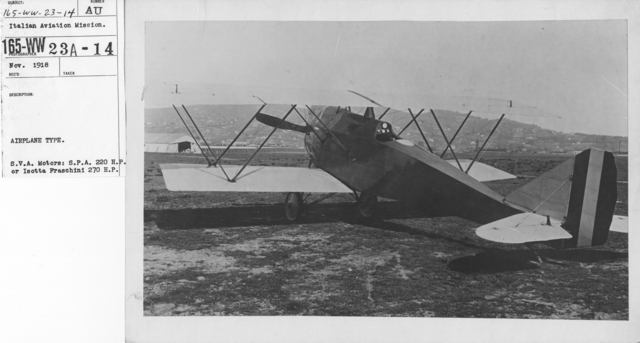 Airplanes - Types - Airplane Type. S.V.A. motors: S.P.A. 220 H.P. or Isotta Fraschini 270 H.P. Italian Aviation Mission