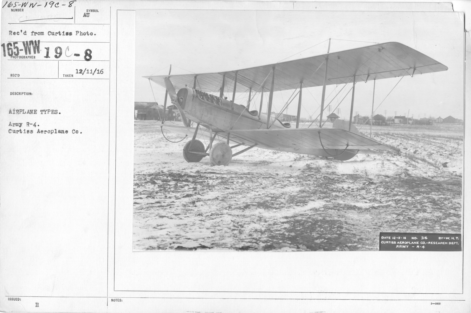 Airplanes - Types - Airplane types. Army R-4. Curtiss Aeroplane Co