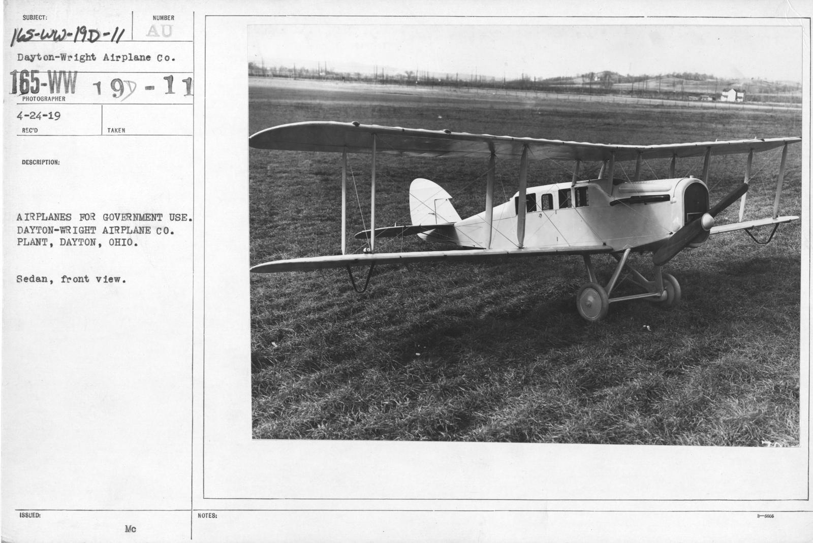 Airplanes - Types - Airplanes for government use. Dayton-Wright Airplane Co. Plant, Dayton, Ohio. Sedan, rear view