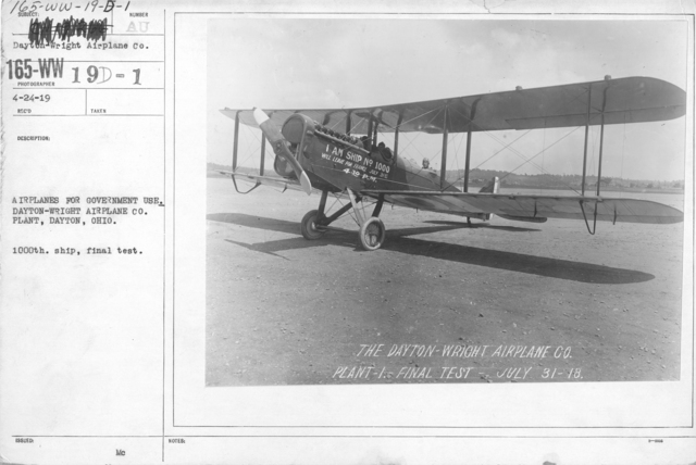 Airplanes - Types - Airplanes for government use. Dayton-Wright Airplane Co. Plant, Dayton, Ohio. 1000th. Ship in crate