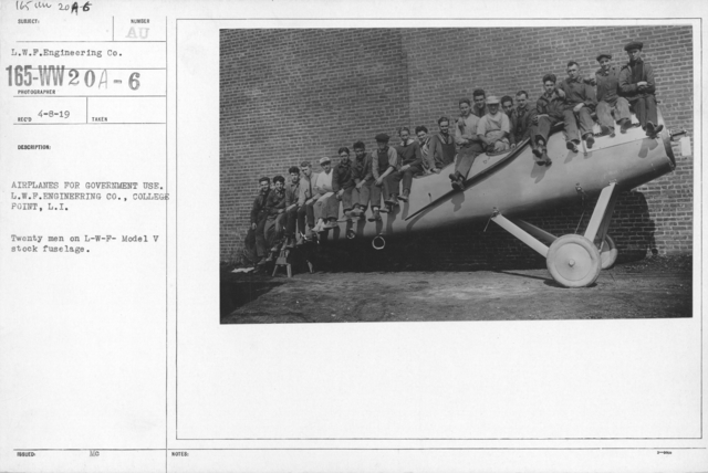 Airplanes - Types - Airplanes for government use. L.W.F. Engineering Co., College Point L.I. Twenty men on L-W-F- Model V stock fuselage