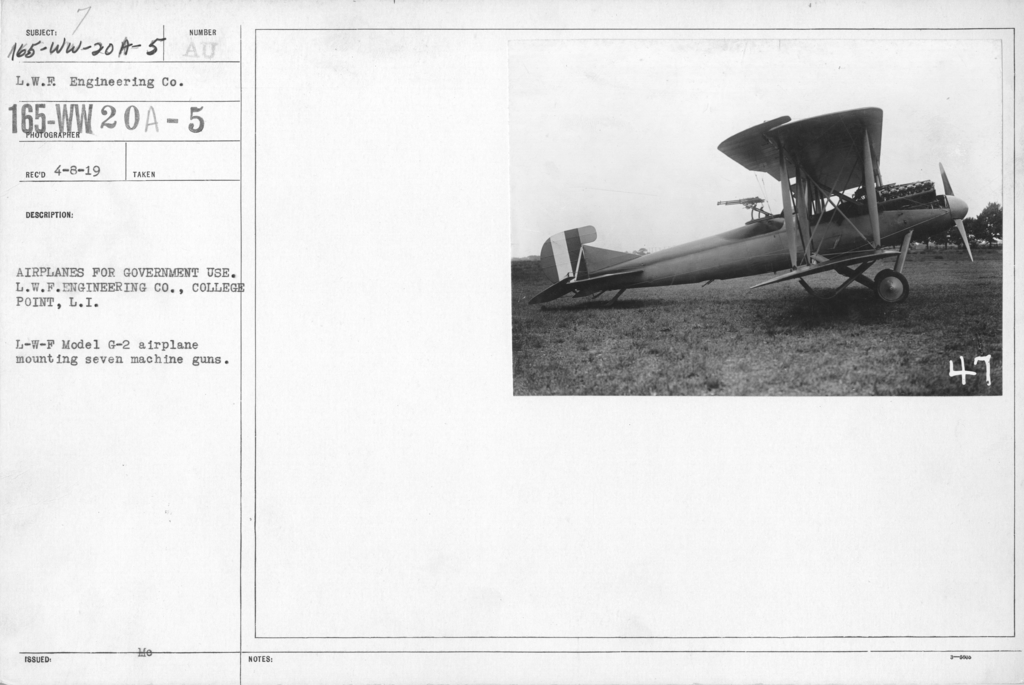 Airplanes - Types - Airplanes for government use. L.W.F. Engineering Co., College Point, L.I. L-W-F Model G-2 airplane mounting seven machine guns