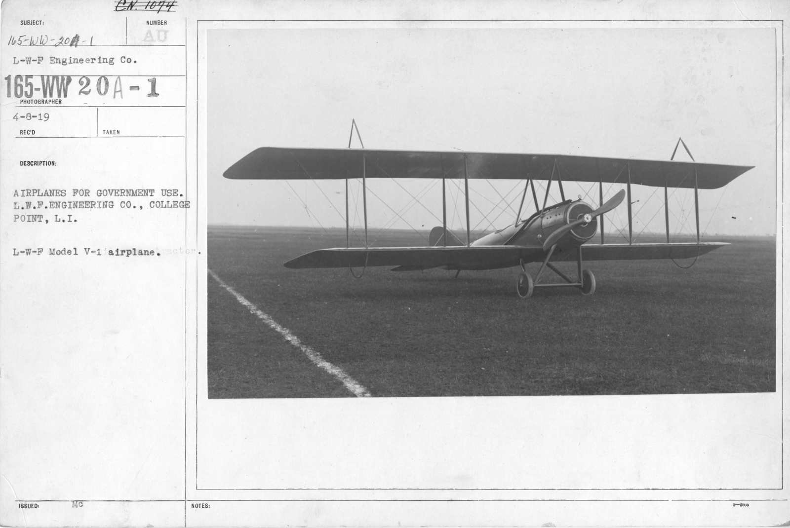 Airplanes - Types - Airplanes for government use. L.W.F. Engineering Co., College Point, L.I. L-W-F Model V-1 airplane