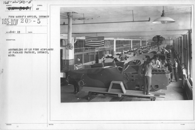 Airplanes - Types - Assembling of Le Pere Airplanes at Packard Factory, Detroit, Mich. From Mayor's Office, Detroit
