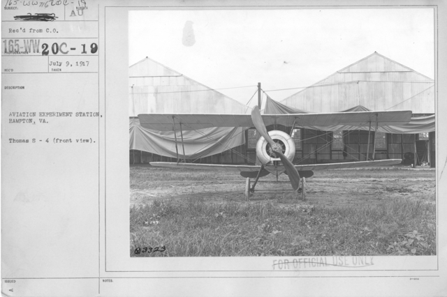 Airplanes - Types - Aviation Experiment Station, Hampton, Virginia. Thomas S-4 (front view)