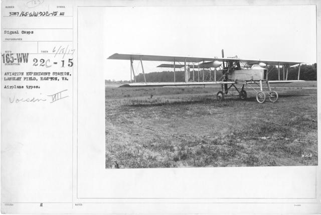 Airplanes - Types - Aviation Experiment Station, Langley Field, Hampton, VA. Airplane types