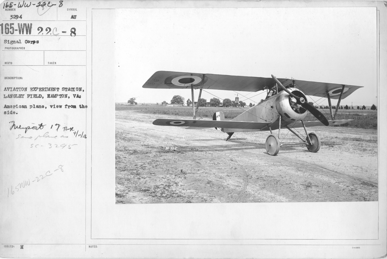 Airplanes - Types - Aviation Experiment Station, Langley Field, Hampton, VA. American plane, view from the side