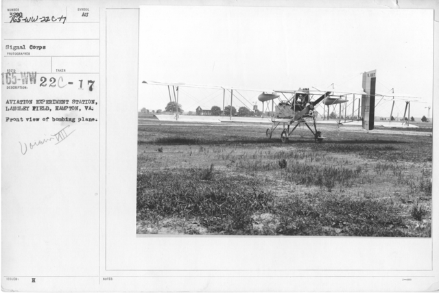 Airplanes - Types - Aviation Experiment Station, Langley Field, Hampton, VA. Front view of bombing plane