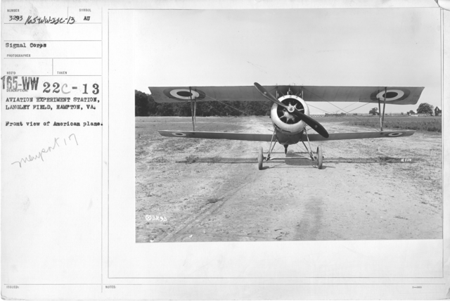 Airplanes - Types - Aviation Experiment Station, Langley Field, Hampton, VA. Front view of American plane