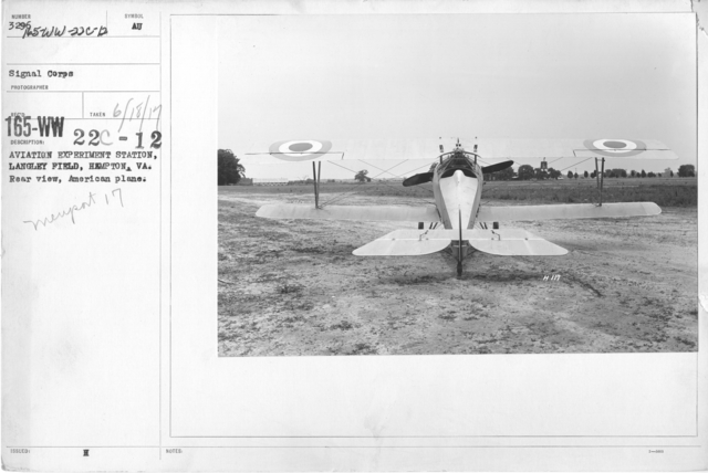 Airplanes - Types - Aviation Experiment Station, Langley Field, Hampton, VA. Rear view, American plane