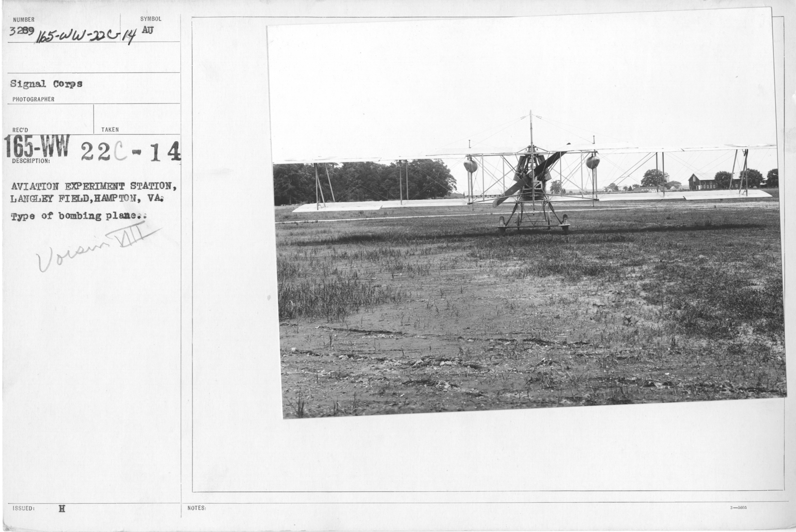 Airplanes - Types - Aviation Experiment Station, Langley Field, Hampton, VA. Type of bombing plane