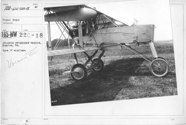 Airplanes - Types - Aviation Experiment Station, Langley Field, Hampton, VA. Type of airplane