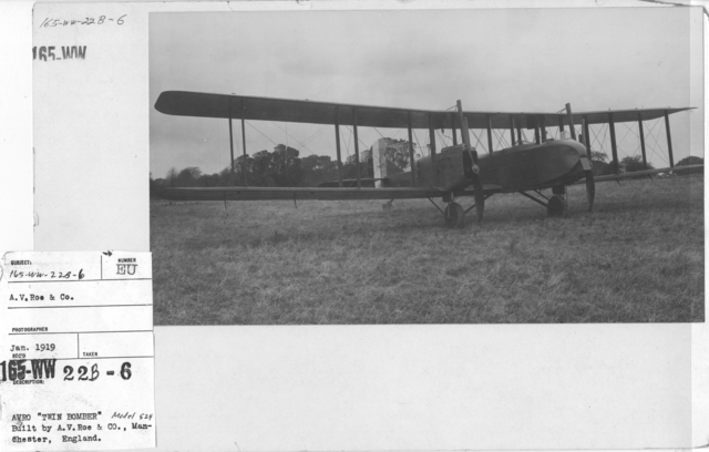 """Airplanes - Types - Avro """"Twin Bomber"""" Built by A.V.Roe & Co., Manchester, England. Model 529"""
