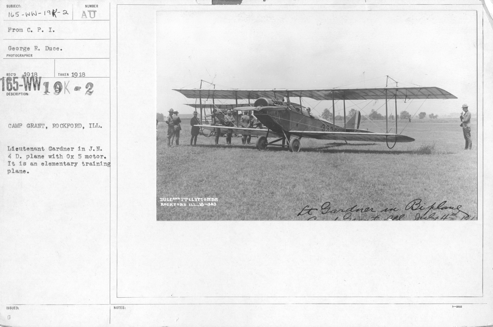 Airplanes - Types - Camp Grant, Rockford, Ill. Lieutenant Gardner in J.N. 4 D. plane with Ox 5 motor. It is an elementary training plane. From C.P.I