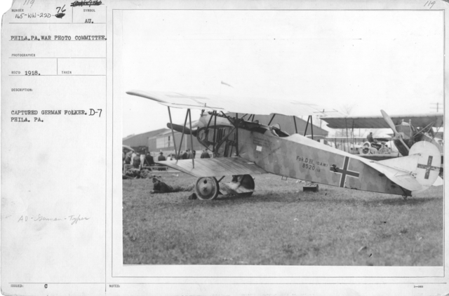 Airplanes - Types - Captured German Fokker. D-7. Philadelphia, PA. Phila. PA. War Photo Committee