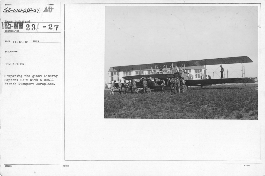 Airplanes - Types - Comparison. Comparing the giant Liberty Caproni CA-5 with a small French Niewport Aeroplane. From R.F. Boyd
